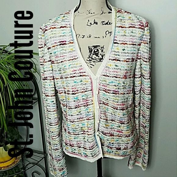 fd1f235b4d5e3 St.John Couture Multicolor Tweed Cardigan size 8